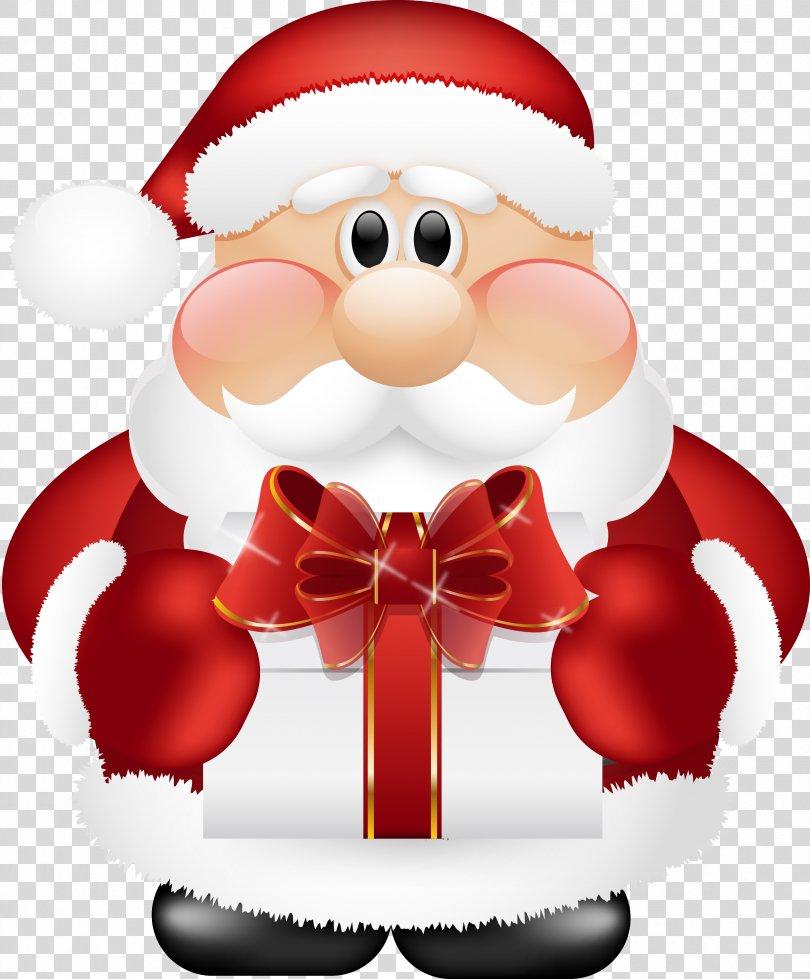 Santa Claus Santa Suit Christmas, Cute Santa Claus With Gift Clipart PNG