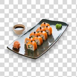 Sushi California Roll Makizushi Smoked Salmon Japanese Cuisine - Sushi Dishes PNG