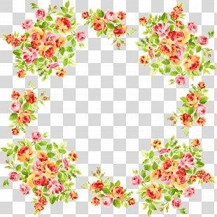 Picture Frames Flower Clip Art - Simple Flower Frame PNG
