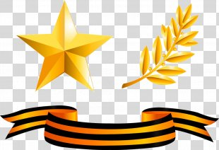 Gold Medal Ribbon Award - Five-pointed Star With Wheat PNG