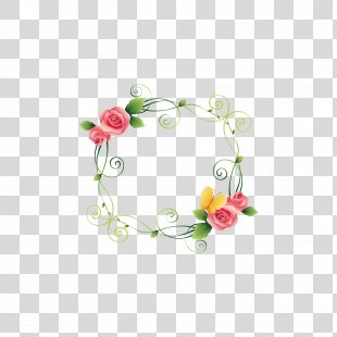Picture Frame Flower Beach Rose - Floral Border PNG