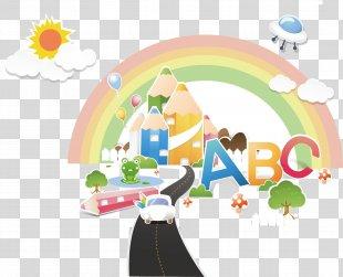 Cartoon Poster Illustration - Cartoon Rainbow Sun Poster Material PNG