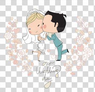 Wedding Invitation Bridegroom Illustration - Cute Cartoon Character Design Wedding PNG