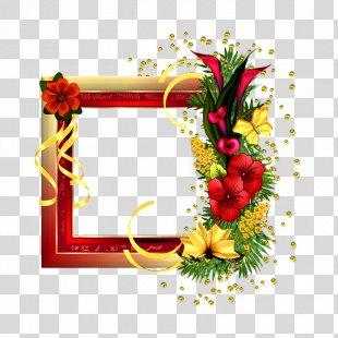 Picture Frames Flower Red Rose - Flower Border Frame PNG