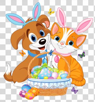 Easter Bunny Cat Dog Pet - Cute Puppy And Kitten With Easter Bunny Ears And Basket PNG