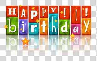 Birthday Cake Happy Birthday To You Clip Art - Transparent Colorful Happy Birthday With Stars Image PNG