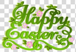 Easter Egg Clip Art - Green Happy Easter Transparent Clip Art Image PNG
