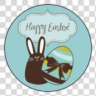 Easter Bunny Happy Easter! Label Clip Art - Easter PNG