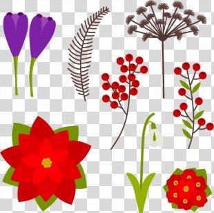 Floral Design Flower Winter Euclidean Vector - Lovely Winter Flowers PNG
