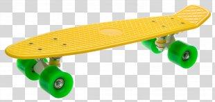Skateboard Yellow Penny Board Longboard Green - Skateboard PNG