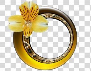 Gold Picture Frames Flower Clip Art - Gold Flower PNG
