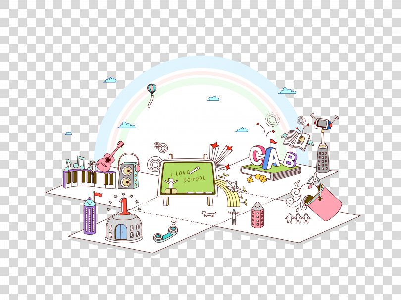 Child Cartoon, Cartoon Children Science And Technology City PNG