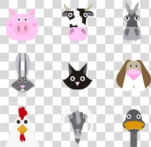 Animal Clip Art - Cute Animal Heads PNG