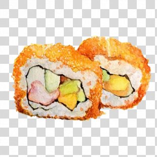 Sushi Gimbap Japanese Cuisine Makizushi Watercolor Painting - Watercolor Style Sushi PNG