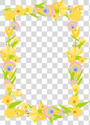 Paper Wedding Invitation Picture Frames Flower Clip Art - Flower Border PNG