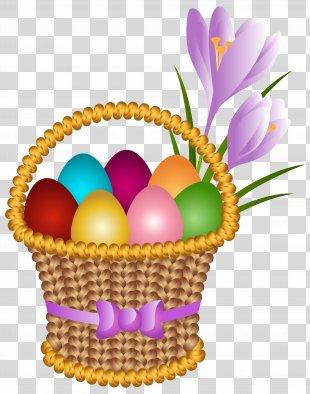 Easter Bunny Egg In The Basket Easter Egg Clip Art - Easter Egg Basket Transparent Clip Art Image PNG