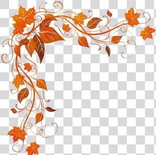 Watercolor Fall Leaves - Floral Design Pedicel PNG