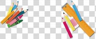 Pencil Ruler - Vector Cartoon Stationery Pencil Eraser Ruler PNG