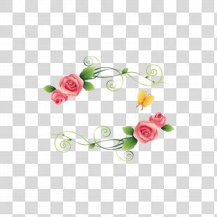 Picture Frame Flower Beach Rose Designer - Floral Border PNG
